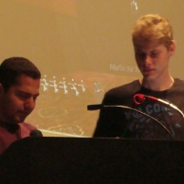 Sal Galvan & Chris Grzelecki giving their talk on Charlie Gage's work in the CSULB University Theater.