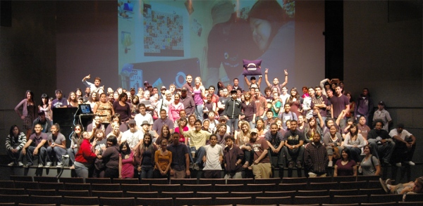 photo of art-110 students on the stage in CSULB room UT-108